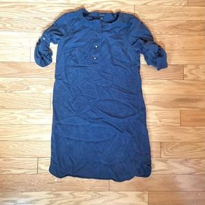 Ann Taylor Blue Lyocell Button Y-Neck Tunic Top